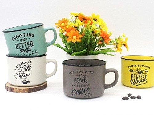 Lote 4 Tazas'Time For Coffee' - Detalles y Recuerdos para Bodas Originales - Tazas Frases Café