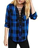 Cindeyar Damen Kariert Blusenshirt V-Ausschnitt Langarm Hemd Locker Bluse Casual Langarmshirt Oberteil Tops (Schwarz + Blau, XXL)