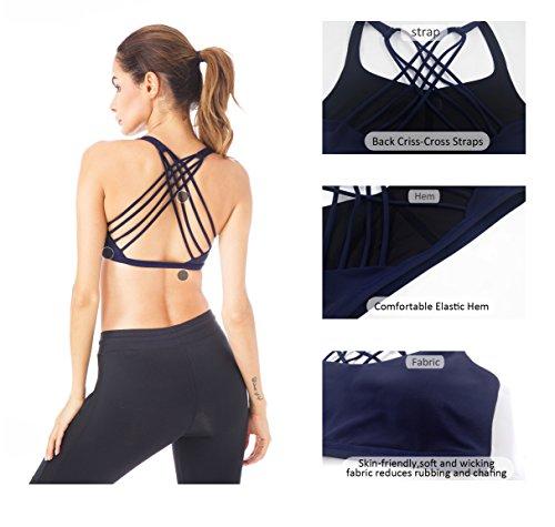 Queenie Ke Donna Reggiseno Sportivo Yoga Spalline Incrociate Imbottite Rimovibili Dark Navy