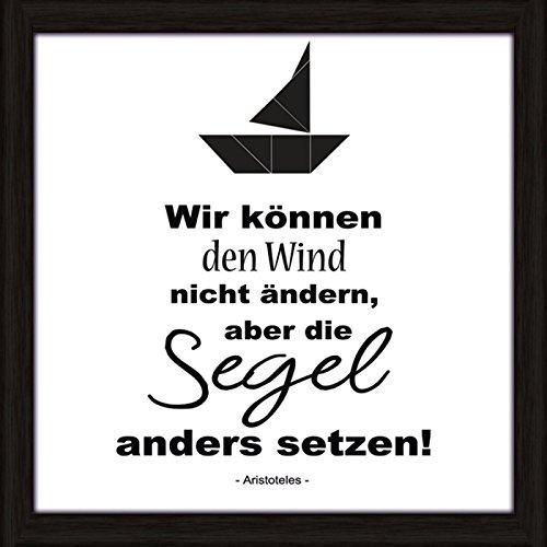 Artland Wand-Bild Poster Kunstdruck mit Rahmen Joana Wir können den Wind nicht ändern, aber die Segel anders setzen Statement Bilder Sprüche & Texte Digitale Kunst Schwarz