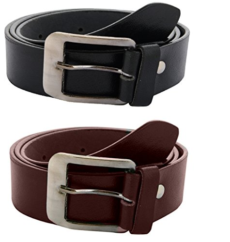 Zacharias Men\'s Combo of 2 Belts Black & Brown
