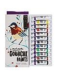 MONT MARTE Gouache - 12 piezas, tubos de 12 ml - Ideal para pintar témpera - Colores brillantes y resistentes a la luz con gran opacidad - Ideal para Principiantes, Profesionales y Artistas
