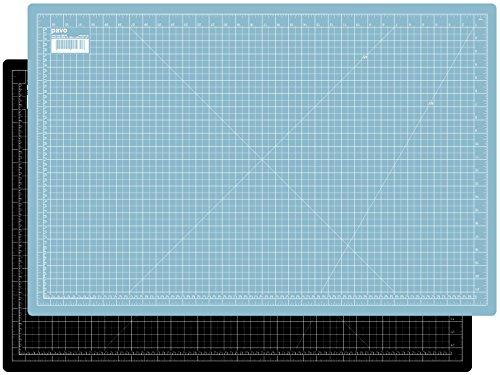 Pavo 8015498 Premium Hochwertige und Selbstheilende Schneidematte Schneideunterlage, Doppelseitig, A1, 900 x 600 mm, Schwarz/Hellblau
