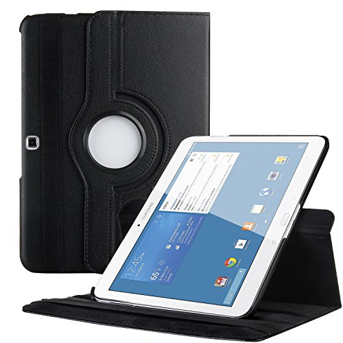 EnGive Kompatibel mit 360°Drehbares Ledertasche für Samsung Galaxy Tab 4 10.1 Hülle (10,1 Zoll) Schutzhülle Case Tasche mit Ständerfunktion Auto Sleep/Wake-Funktion (Schwarz)
