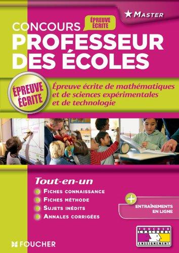Epreuve écrite de mathématiques et de sciences expérimentales et de technologie: Concours professeurs des écoles