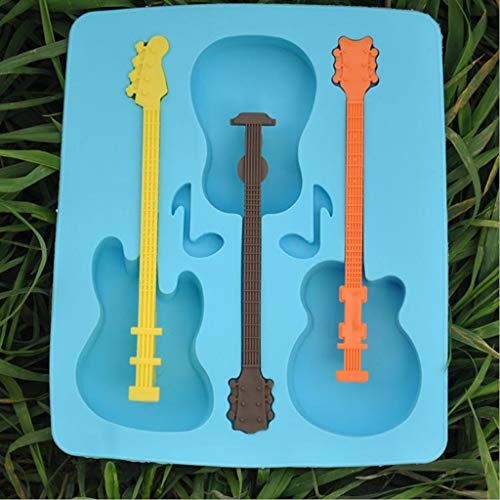 Jinyiming Kreative Silikon EIS Modell Gitarre Modellieren Eisherstellungsform Kreative DREI Gitter Eisform, Lebensmittelqualität Silikon Material Umweltfreundlich Ungiftig, Blau (Verpackungsmaterial Für Seifen)