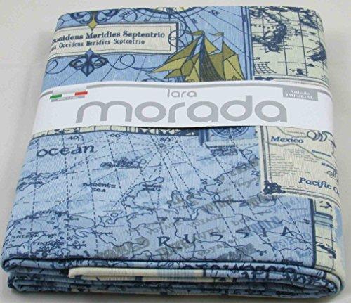 Lara morada telo arredo gran foular copritutto in tessuto loneta art imperial disegno mappa (azzurro)