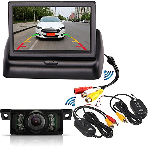 Wireless Backup Kamera System 10,9cm TFT LCD faltbar Auto Monitor mit 7IR-LEDs Wasserdicht Nachtsicht Einparkhilfe Rückfahrkamera Kamera