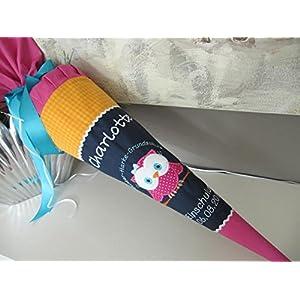 #154 Eule Uhu dunkelblau-orange-pink Schultüte Stoff + Papprohling + als Kissen verwendbar