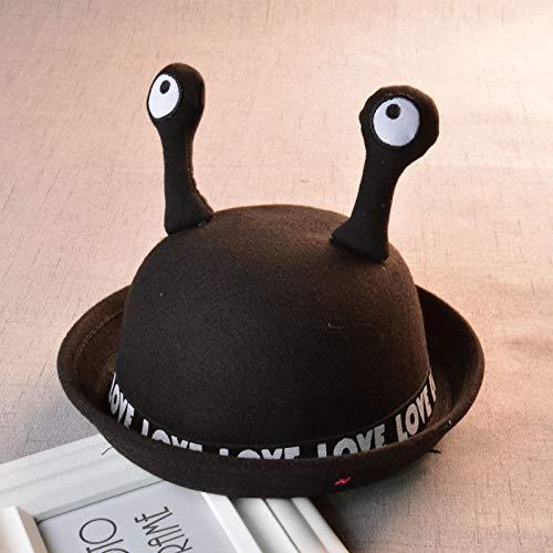 ChildHat 2018 Hut für Kinder,Kinder Wollmütze Kinder Wollmütze Schnecke Insektenkappe Flut Männer und Frauen Baby Fischer Basin Cap, schwarz, Kappe 52 cm