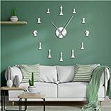 xtmyz Relojes de Pared Bricolaje Ajedrez Internacional Hobby Ajedrez Amante Sin Marco Efecto 3D DIY Reloj de Pared Figuras de ajedrez Decoración de Arte de Pared Reloj con Efecto Espejo