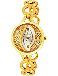 Jack Klein Golden White Dial with Golden Chain Wrist Watch for Women