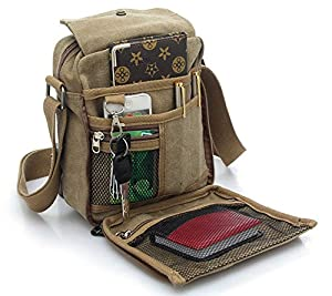 Men's Canvas Shoulder Messenger Rucksack Backpack School Travel Bag Satchel