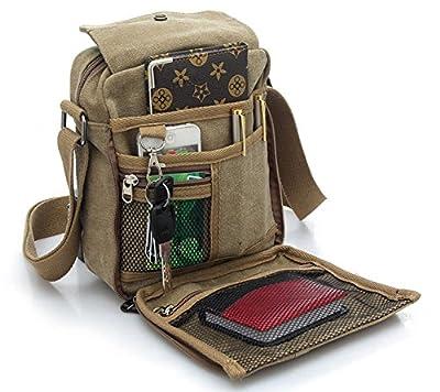 Men's Canvas Shoulder Messenger Rucksack Backpack School Travel Bag Satchel (Brown) (BP0040) - cheap UK light shop.