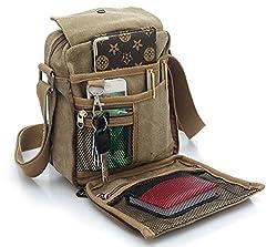 Men's Canvas Shoulder Messenger Rucksack Backpack School Travel Bag Satchel (Khaki) (Bp0041)