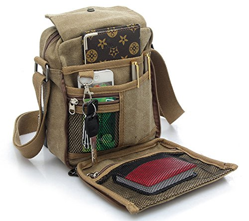 Men s Canvas Shoulder Messenger Rucksack Backpack School Travel Bag Satchel 40afe2dc692d4