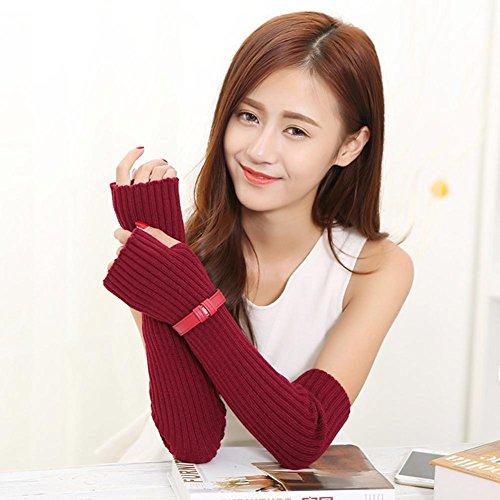 JQAM Womens elegante acrilico inverno scalda braccio lungo pollice foro guanti lavorati a maglia , (Scopo Esterno Raso)