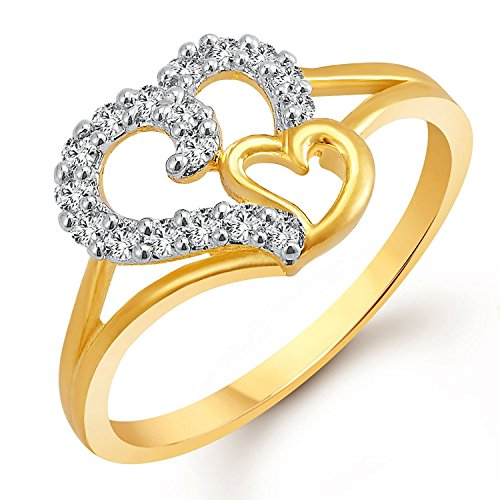 Meenaz Gold & Rhodium Plated In American Diamond Ring For Women Cz Fr401