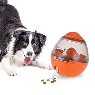 DADYPET Pet Food Ball, IQ Treat Ball Bite Toys Chewing Food Ball, Fun and Interactive Treat, Feeding Training Puppy for Dogs and Cats, Best Alternative to Bowl Feeding (Orange)