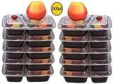 Contenitori per alimenti di prima qualità, 2 scompartimenti, utilizzabili in forno a microonde e lavastoviglie, impilabili, pasto al sacco, riutilizzabile, in plastica, con coperchio/piatto diviso/bento box/porta pranzo codice di riciclaggio 5PP 100% senza BPA, (nero) 10pezzi