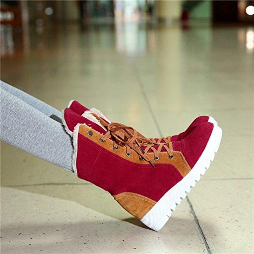 Yiiquan Donna Neve Stivali Piane Caldo Lace-up Stivaletti Scarpe Spessore Inferiore Snow Boots Rosso