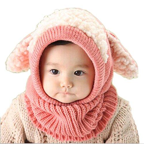 Kfnire Hüte Mützen Winter Baby Kinder Mädchen Jungen Warm Woll Haube Kapuze Schal Caps (Rosa)
