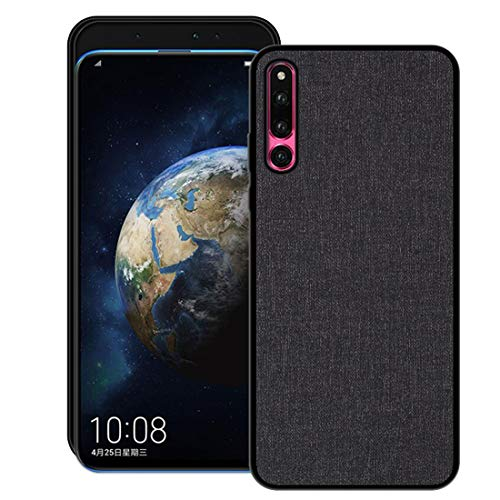 Aidinar Huawei Honor Magic 2 Hülle,Stoff PU Rückendeckel All-Inclusive Bruchsichere Hartschale mit Silikonkante für Huawei Honor Magic 2(Schwarz)