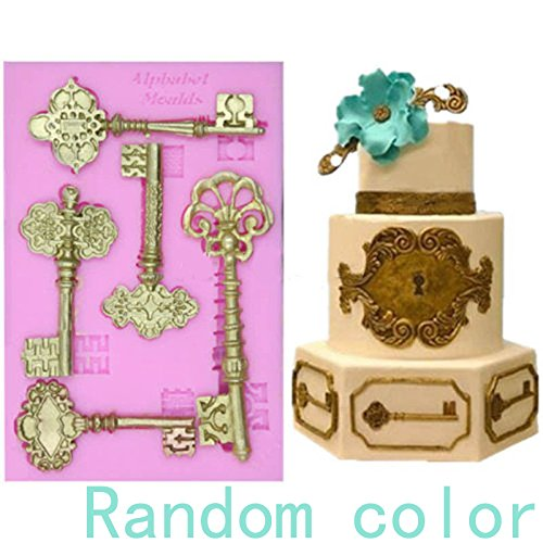 anqeeso Kuchen 3D Vintage Schlüssel Form Spitze Form Fondant Silikon Form Kuchen dekorieren Tools Form Silikon Backform Kuchen Werkzeuge (Essbare Spitze Silikon Form)