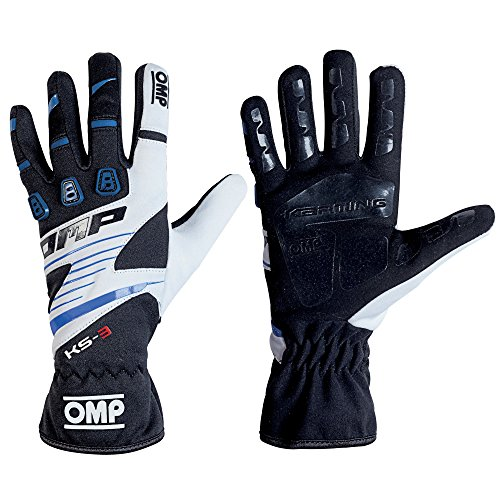 OMP KS-3Kart Handschuhe mit kk02743e Karting Griff in Erwachsene & Kinder-Größen, Schwarz/Blau/Weiß, 6 (CHILD 10-12 YEARS)