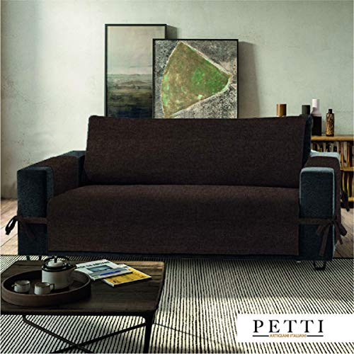 Petti, artigiani italiani - copridivano 2 posti marrone, 100% made in italy, con elastici e tasche laterali (marrone, 2 posti (120-125 cm da bracciolo a bracciolo))