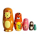 Puppe Zusammenstecken aus Holz handbemalt Kits de Matrjoschka Dekoration Farbiger (Tiere)