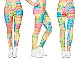 Alsino Leggings Damen Bedruckt Sexy Leggins Ladies mit Print Look Motiv Muster Stretch Legins Hose, Variante wählen:LEG-029 Bausteine bunt
