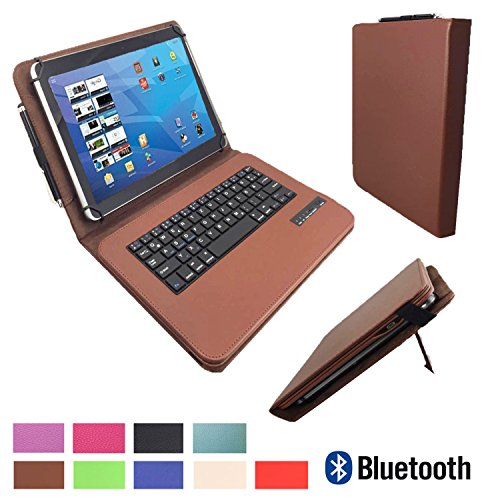 xTab Bluetooth Qwertz Keyboard für Blaupunkt Discovery 1000C 108C Schutzhülle Case Cover 10.1 Braun Tastatur