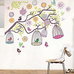 Walplus AY993 - Vinilo adhesivo reutilizable para habitación infantil, diseño de árbol y jaulas de pájaro
