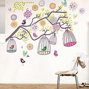 Walplus huge colourful birdcage décoration murale fleurs cage a oiseaux pour chambre enfant détachable citation vinyl décalque autocollant ay993