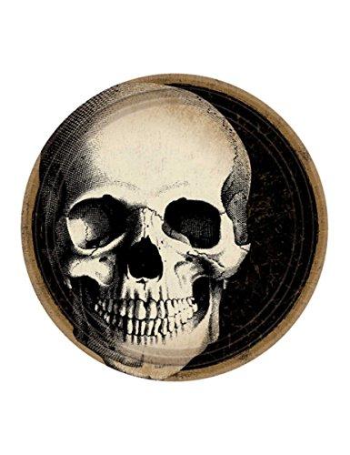 10 Assiettes en carton Crâne d'Halloween 23 cm - taille - Taille Unique - 308467