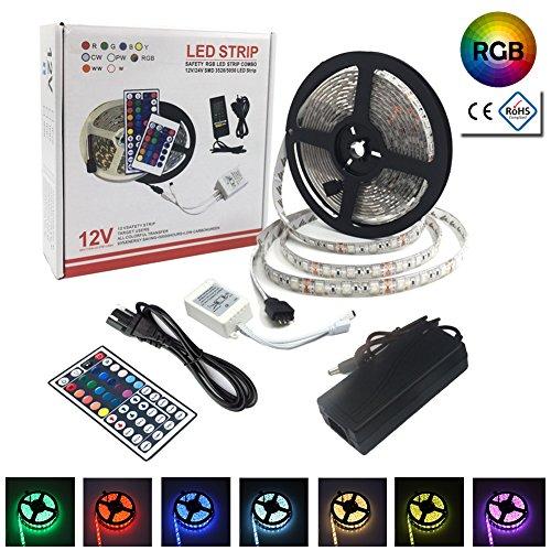 LED Streifen set,5050 LED Stripes RGB 5 Meters inkl. 300 LEDS,Lichterkette LED, LED Lichtleiste, LED Bänder, mit 44 Schlüssel IR-Fernbedienung Controller und 12 V 5A Netzteil (5M)