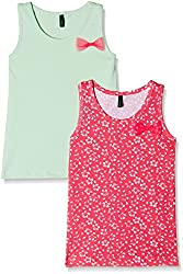 United Colors of Benetton Baby Girls' Top (Pack of 2) (16P3ABZC8008G902_Pink and Green_0Y)