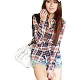 Coffetime-Frauen Button Down Casual Lapel Hemd Plaids Checks Flannel Tops Bluse