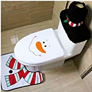 Christmas toilet seat cover Santa Toilet Seat Cover and Rug Set Red Christmas Decorations Bathroom Set of 3 Snowman