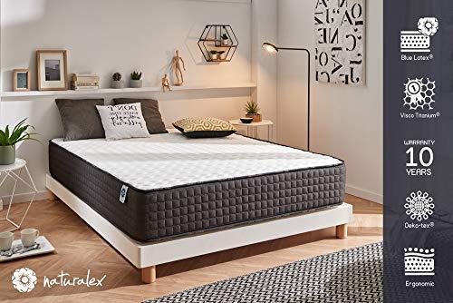 Schlafzimmer-möbel-outlet (Naturalex - Titanium - Härtegrad H5 - viskoelastischer Schaumstoff Titanium und High Resilience Blue Latex - 7 Komfortzonen - beliebig drehbar - 140 x 200 x 24 cm)