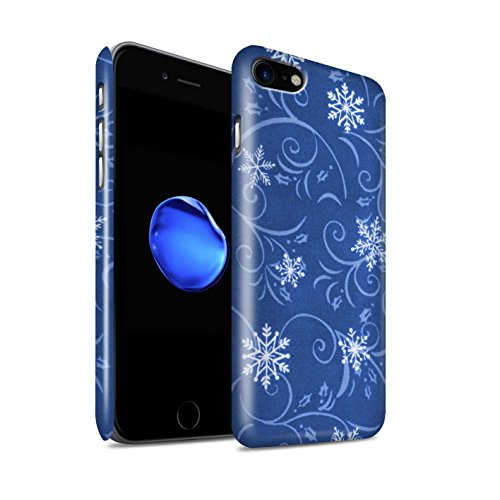 STUFF4 Glanz Snap-On Hülle / Case für Apple iPhone 8 / Türkis Muster / Schneeflocke-Muster Kollektion Blau