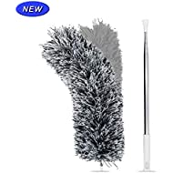 Extendable Microfiber Duster with Extra Long 100 inches Telescopic Pole, Feather Duster with Bendable Head, Hand Duster for Cleaning High Ceiling Fans, Blinds, Cobweb, Cars