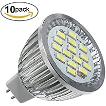 10PCS MR16/G5.3 7W LED Bombilla- YTJ MR16/G5.3 Lámpara (Luz Blanco Frío), AC/DC 12V, 6500K, 640 Lumen, La Luz de 180°