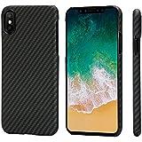 Minimalistische iPhone X Hülle, PITAKA Amaridfaser [Kugelsicheres Material] Handyhülle, ultra dünne (0,65mm), leichteste (14g) und stabilste, passgenaue Schutzhülle mit Schutzfolie für iPhone X Schwarz/Grau (Köperbindung)