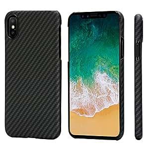 iPhone X Coque, PITAKA MagCase Aramide Fiber[Matériau de l'armure corporelle réelle] Mince(0.65mm) Super Léger(14g) Durable rigide en caoutchouc Snap-on Case pour iPhone X-Noir/Gris(sergé)