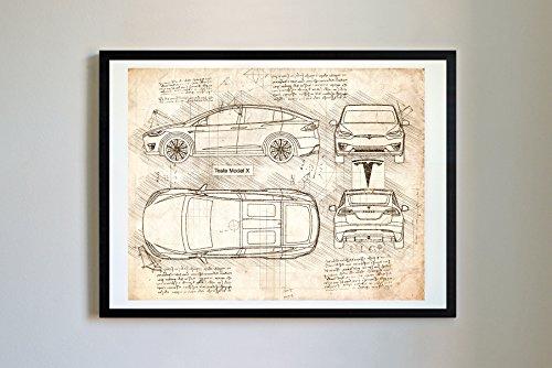 DolanPaperCo # 261Tesla Modell X 2016Kunstdruck, da Vinci Sketch, ungerahmt, Mehrere Größe/Farbe, für (16x 20, Vintage)
