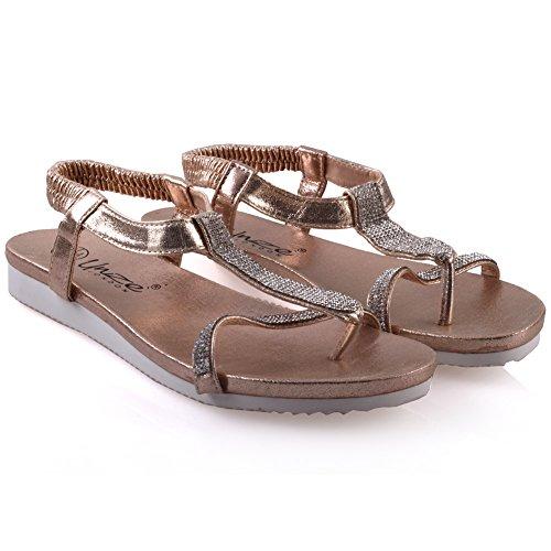 Unze Femmes Turfi 'Flat Agrémentée Summer Sandals Or