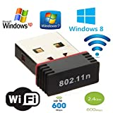 Capslock WiFi Adapter 600 Mbps High Speed WiFi Receiver, Mini USB Adapter WiFi Dongle 2.4 GHz Nano Adapter for (Windows 10)- 64 Bit