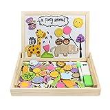 Puzzles en Bois Magnetique 123 PCS Jouet de Construction Animal Tableau Double Face Zoo Jouet Enfant 3 Ans